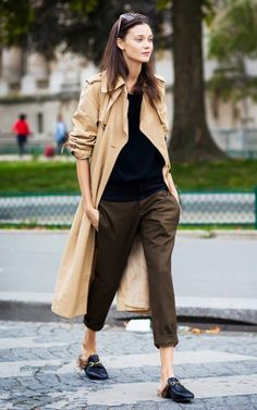 whowhatwear:  Pushing up your sleeves make a big difference.