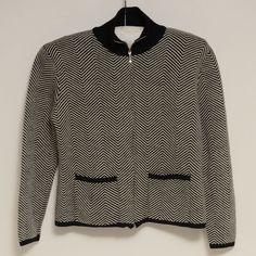Mendocino Merino Wool Zipper Sweater Jacket Zig Zag Black & White Petite Size M  #Mendocino #FullZip