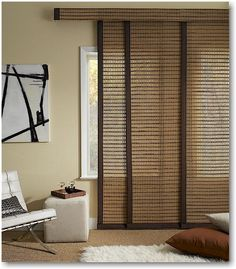 Sliding Panel Track Blinds are designed for sliding doors, over-sized windows or above-the-door installation. Kitchen Sliding Doors, Sliding Door Curtains, Patio Door Curtains, Sliding Glass Door, Drapes Curtains, Balcony Doors, Window Drapes, Glass Doors, Sliding Window Treatments