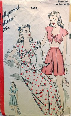 Hollywood Pattern 1624, Playsuit.  (Also check out those wide leg pyjama pants!).