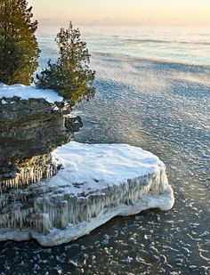 Winter at Cave Point in Door County with photography by Daniel Anderson Photography