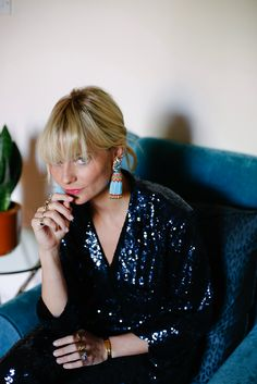 Pandora Sykes wearing Yolke sequined pajamas
