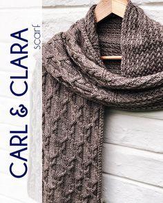 Ravelry: Carl & Clara scarf pattern by Tatiana Uluceviz Cowl Scarf, Knit Cowl, Cable Knit, Knit Crochet, Snood Knitting Pattern, Knitting Patterns, Shawl Patterns, Mitten Gloves, Mittens
