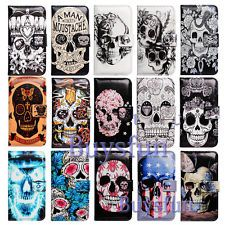 Bcov Cool Skull Flower Card Slot Leather Wallet Case Cover FOR Samsung Galaxy | eBay