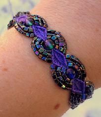 Purple Iris Beaded Micro-Macrame Bracelet Handcrafted