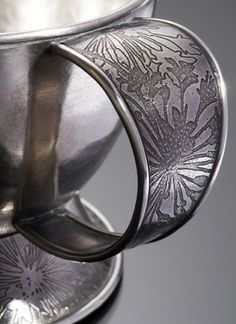 Etched Sterling Silver Espresso Cup