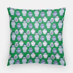 "Home decor is a personal obsession for our founder and designer, Kelly Lyden, so we are thrilled of offer our exclusive patterns in throw pillow covers!  The perfect addition to your couch, bed or favorite reading chair. Specifications 16""x16"" or 20""x20"" 100% US Cotton Two-Sided Emerald Green with ginger jars Zipper Cl"