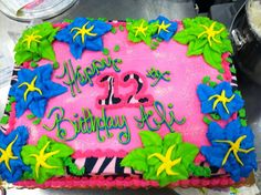 Pink Zebra Stripes and Hibiscus Flower Cake, decorated at Publix Bakery (Chasewood Plaza, Jupiter, FL)