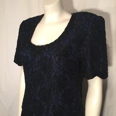 Vintage Large L Black Lace over Blue Black Floral Beaded Formal Short Sleeve Long Chiffon Dress Brilliante by J.A. 80s by CarolinaThriftChick on Etsy