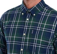 Featuring a colourful Highland check, this long-sleeved shirt is created in pure cotton and has a brushed finish for extra softness against the skin. This distinctive design is cut to a tailored fit and detailed with a button-down collar and a chest pocke Button Down Collar, Barbour, Casual Shirts, Spider, Long Sleeve Shirts, Weaving, Menswear, Men Casual, Shirt Dress