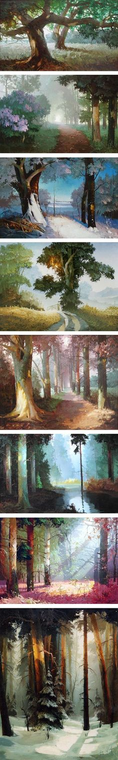 52 Ideas For Concept Art Forest Scenery Fantasy Landscape, Landscape Art, Fantasy Art, Bg Design, Art Watercolor, Environment Concept Art, Environment Design, Matte Painting, Art Graphique