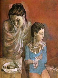 """Art from Spain - Pablo Ruiz y Picasso, (Málaga, 1881 – 1973), was a Spanish painter, sculptor, printmaker, ceramicist, stage designer, poet and playwright. Regarded as one of the greatest and most influential artists of the 20th century, he is known for co-founding the Cubist movement. - The Blue /Pink Period. - """"Les Baladins"""" 1904–05 (Mother and Child, Acrobats), Staatsgalerie, Stuttgart. Germany"""