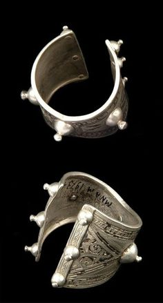 Morocco | Pair of cuff bracelets from the Talsint region of the Middle Atlas region | Silver
