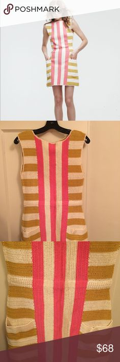 Anthropologie Lauren Moffatt Pink Lemonade Dress 8 Knit dress. Size 8. Pink, yellow, and ivory. Lauren Moffatt Dresses