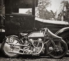 The French Cyclone. KoehlerEscoffier 'Quatre Tubes' OHC V-twin racer, looks like a 1928 but modified for racing with that cheeky little fairing and rear disc (when disc meant wheel cover - not brake!). Supposedly 6 survive