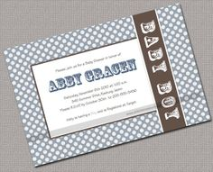 Baby Boy Shower Invitations Printable Slate por alittletreasure, $15.00
