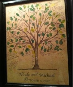 MEDIUM Nicole and Michael  Wedding Thumbprint Tree  by fourch, $111.00