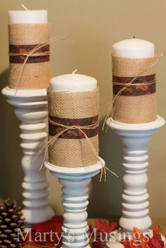 plain candles, burlap, ribbon the color of wedding colors and twine. good for centerpiece!