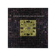 Часы Настенные в стиле Арт-Деко из авантюриновой мозаики и золотой смальты