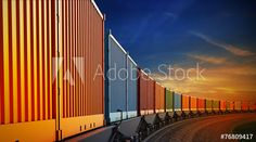 wagon of freight train with containers on the sky background Skyscraper, Transportation, Container, Transport Logistics, Explore, Adobe, Building, Trains, Image