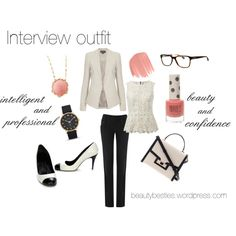 """Going on an interview?"" by beautybesties1 on Polyvore A perfect interview or first day on the job outfit. It shows you are classy, put-together, and feminine. A blazer and neutrals shows that you are to be taken seriously around the office. This outfit would make any woman feel confident and ready to take on the world. #interview #hr #blazer #blackandwhite #career #outfit"