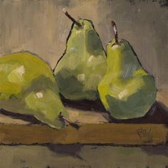 """Daily Paintworks - """"Three pears on a board"""" - Original Fine Art for Sale - © Louise Kubista"""