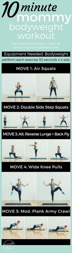10 Minute Mommy Bodyweight Workout | www.nourishmovelove.com