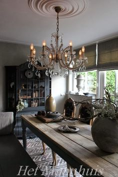rustic table and chandelier (maybe middle-eastern though. - my dining room - taktak decor Gray Interior, Interior Design, French Country House, Rustic Table, Dining Room Design, Beautiful Kitchens, Decoration, Living Spaces, Sweet Home