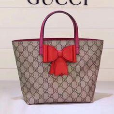 6c84285f1bf5 Gucci Childred's GG Supreme Bow Tote 457232 Red 2017 #Guccihandbags