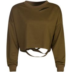 Coffee Ripped Drop Shoulder Cropped Sweatshirt (210 SEK) ❤ liked on Polyvore featuring tops, hoodies, sweatshirts, sweaters, shirts, ripped shirt, brown top, distressed sweatshirt, cropped tops and ripped sweatshirt
