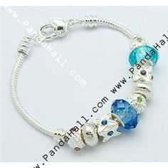 European Style Bracelets, Alloy Beads and Glass Beads