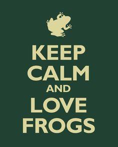 Cinziaaaaaaaa Keep Calm and Love Frogs (forest green) - archival print