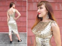 Vintage 1950s 1960s Gold Sequin Marilyn Monroe Wiggle Dress // 50s 60s Sexy Low Back Bombshell Pin Up Cocktail Party Dress | size XS S | Birthday Life Vintage on Etsy | $165.00