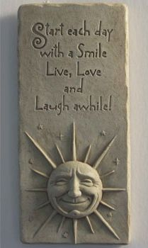 Cast Stone Expressions Collection - A Smile A Day, Celestial Sun Face, Stars - Collectible Live, Love, Laugh Plaque - Concrete Sculpture House Plaques, Garden Plaques, Name Plaques, Clay Art Projects, Polymer Clay Projects, Pottery Houses, Pottery Art, Pottery Ideas, Diy Cookie Cutter