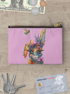 'Steampunk Bunny' Zipper Pouch by Sophie Huddlestone Zipper Pouch, Chiffon Tops, Bubble, V Neck T Shirt, Steampunk, Classic T Shirts, Bunny, Gifts, Bags