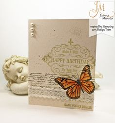 Inspired by Stamping, Joanna Munster, Butterflies stamp set, Vintage Happy Birthday stamp set, Background Basics II stamp set, Crochet Trim Tape, birthday card