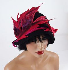 Felted Hat Cloche hat Flapper Hat Designer Hat Black от filcant, $169.00