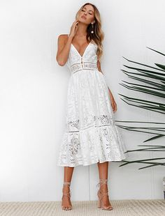 02c69d4117f ELSVIOS Fashion Strap Backless Women Dress 2018 Summer Sexy V Neck button  Lace Dresses Casual White