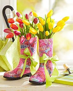 Fill colorful rain boots with coordinating colors of tulips or other spring flowers.