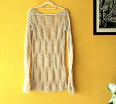 Loose Knit Sweater Grunge Sweater Knit Grunge Top Hippie por MyAqua