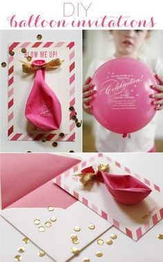 DIY Balloon Party Invitations - you could do this with a CARES event flyer - you could use a plain balloon, it doesn't have to be custom printed.  It will be sure to catch your residents' attention. bachelorette parties, birthday parties, balloon party, party invitations, wedding invitations, diy projects, kid, bridal showers, baby showers
