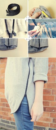 The Best Fashion DIY Projects Ever! , Zip Jumper ✭Teresa Restegui http://www.pinterest.com/teretegui/ ✭
