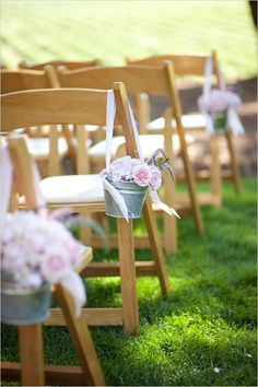Cheerful Country Wedding Decor Ideas ★ country wedding buckets with pink roses and ribbons decorated the aisle julie mikos photography Before Wedding, Wedding Tips, Wedding Events, Wedding Ceremony, Our Wedding, Dream Wedding, Ceremony Seating, Church Wedding, Wedding Set