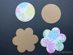 4 Etiketten Geschenkanhänger Tag bunte Blumen von La Botones auf DaWanda.com