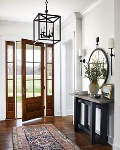 Natural beauty 🌿 featuring the Star Lantern by J. Randall Powers and the Dover Large Tail Sconce by AERIN. Interior design by Porch And Foyer, Estilo Interior, Entry Hallway, Entryway Stairs, European Home Decor, Classic Home Decor, Luxury Home Decor, My Dream Home, Dream Homes