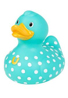 Blue polka dot duck