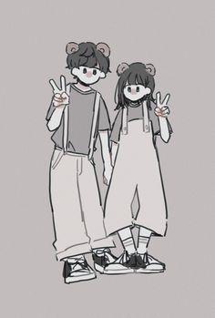 Cute Couple Drawings, Mini Drawings, Cute Cartoon Wallpapers, Animes Wallpapers, Pretty Art, Cute Art, Character Art, Character Design, Korean Art