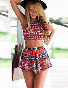a5e16a4e3d7 Red Mixed Folk Print Backless Crop Top And High Waist Shorts