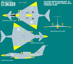 Gerry Andersons Stingray Spearhead Bomber Variant by ArthurTwosheds on DeviantArt Uav Drone, Drones, Working Drawing, Sci Fi Ships, Science Fiction Art, Space Crafts, 21st Century, Fighter Jets, Tv Series