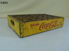 VINTAGE DRINK COCA COLA COKE SODA POP IN BOTTLES WOOD WOODEN CRATE YELLOW RARE #CocaCola